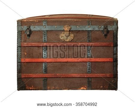 Vintage Treasure Chest (with Clipping Path) Isolated On White Background