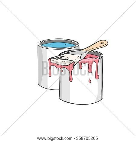 Pot With Paint Emulsion. Paint In Buckets. Brush And Paint Buckets. Paintbrush, Red Color. Paint For