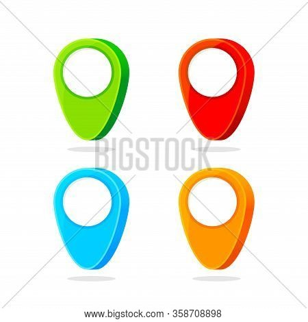 3d Pin Symbol Green Red Blue And Orange, Pin Maps Icon Isolated On White, Pointer Pin For Gps Map An