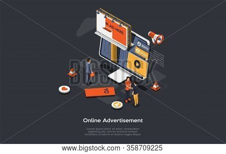 Isometric Online Advertisement Concept, New Advertising Technologies. Computer Monitor, With Differe