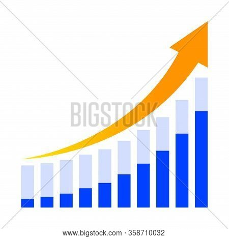 Business Graph And Arrow Progress Orange Isolated On White, Arrow Pointing Up Over Chart Bar Graph,