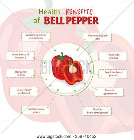 Health Benefits Of Bell Pepper. Bell Pepper Nutrients Infographic Template Vector Illustration. Fres