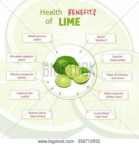 Health Benefits Of Lime. Limes Nutrients Infographic Template Vector Illustration. Fresh Fruits