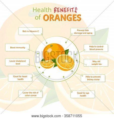 Health Benefits Of Orange. Oranges Nutrients Infographic Template Vector Illustration. Fresh Fruits
