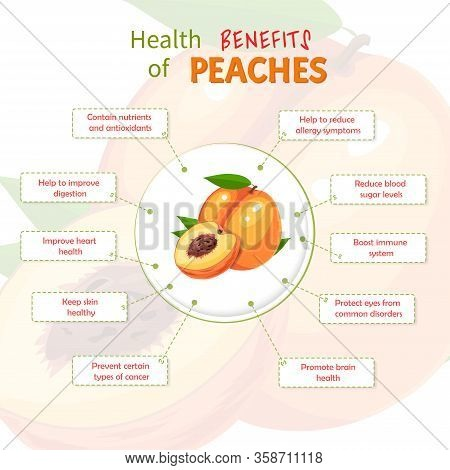 Health Benefits Of Peach. Peaches Nutrients Infographic Template Vector Illustration. Fresh Fruits