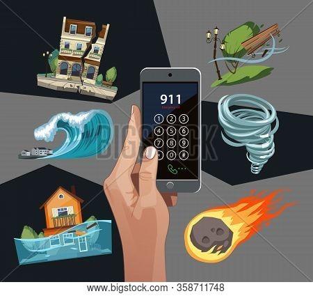 Emergency Cataclysms Set With Phone. Windstorm, Hurricane, Earthquake, Waterflood, Meteorite