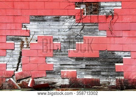 Cracked Red Shingle Tile Warehouse Wall Exposed Rotten Wood