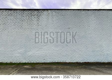 White Faded Stone Brick Factory Warehouse Wall Alley