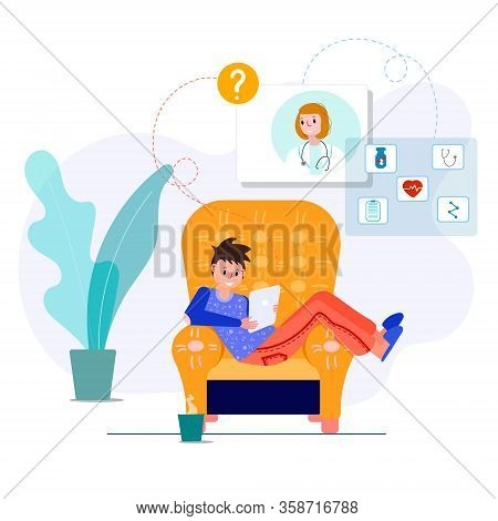 Telemedicine With Doctor. Virtual Doctor Meeting For Therapy, Diagnose, Pills With Patient From Home