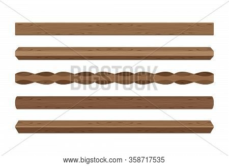 Wooden Lath Different Dark Brown Color Isolated On White, Wooden Slat Poles Brown, Lath Wood For Hom