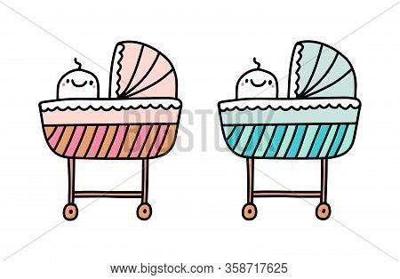 Baby Nursery Cot Newborn Furniture Boy Girl Hand Drawn Vector Illustration In Cartoon Comic Style