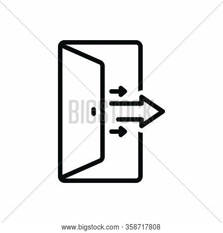 Black Line Icon For Out Exit Door Emergency Leaving Entrance Doorway
