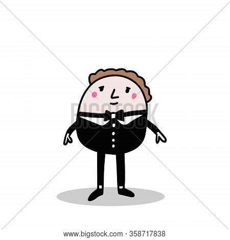 Servant Hand Drawn Vector Illustration In Cartoon Comic Style Man In Costume Black Tie
