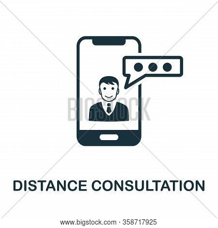 Distance Consultation Icon. Simple Element From Digital Healthcare Collection. Filled Distance Consu