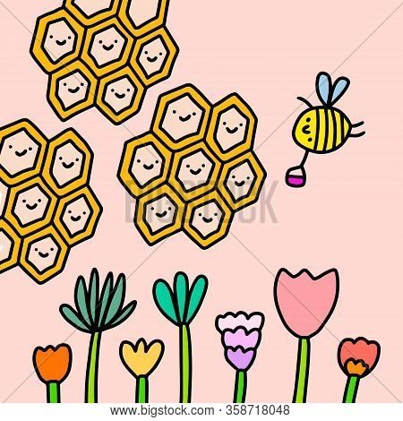 Propolis Honey Hand Drawn Vector Illustration In Cartoon Comic Style Bee Gathering Nectar Flowers Bl