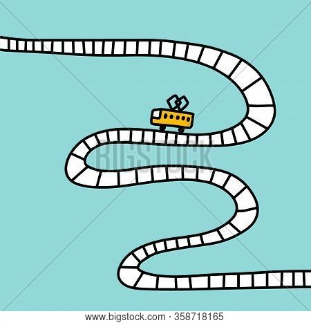 Tram On Railway Driving Hand Drawn Vector Illustration In Cartoon Comic Style Road Way