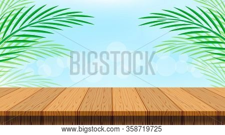 Coconut Background With Leaves And Wood Table Plank, Wooden Plank Empty And Coconut Palm Leaf, Wood