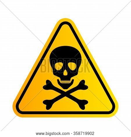Bones And Skull As A Sign Of Toxicity Warning. Yellow Triangle Hazard Icon. Vector Illustration Isol