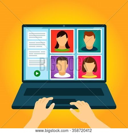 Webinar, Online Conferences, Teleworking, Lectures, And Quarantined Online Training On The Internet.