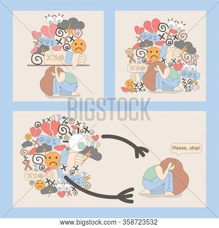 Set Of Illustrations With Cyberbullying. Online Pressure. Posting Sexual Remarks, Or Pejorative Labe
