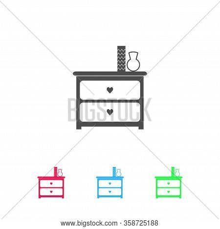 Dresser With Vases Icon Flat. Color Pictogram On White Background. Vector Illustration Symbol And Bo