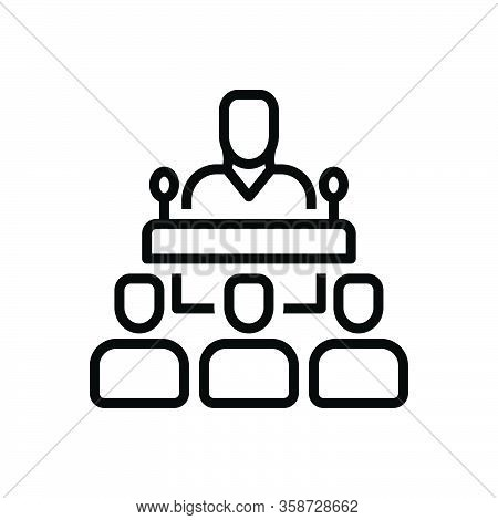 Black Line Icon For Publicly Speaker Delegate Consultant Conference Interview Lecture Client