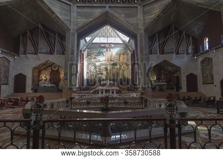 Nazareth, Israel, January 26, 2020: Upper Church At The Basilica Of The Annunciation In Nazareth, Is