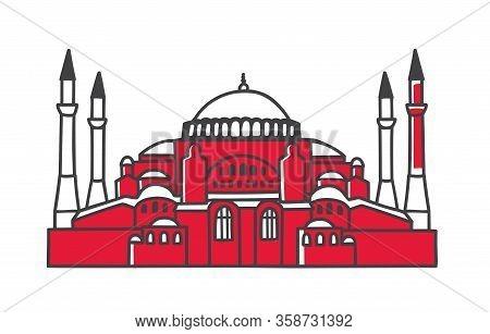 Vector Colourful Illustration The Hagia Sophia In Istanbul, Turkey. Famous Turkish Landmark In Minim