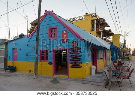 Holbox, Mexico-march 24, 2018: Colorful Caribbean Houses With Bars And Restaurants On Holbox Island,