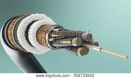 The Concept Of Fiber Optic Cable On A Colored Background. Future Cable Technology. Detailed Curved C