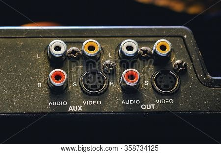 A Control Panel With Old Analog Audio And Video Connectors. Red And White Rca Audio Connectors And S