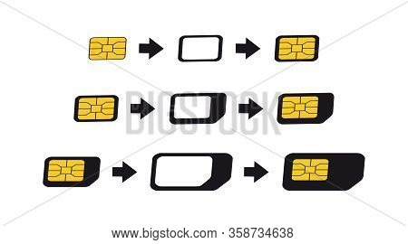 Sim Card Adapters Icon Set. Esim To Nano, Nano To Micro, Micro To Normal Sim-card Converters.