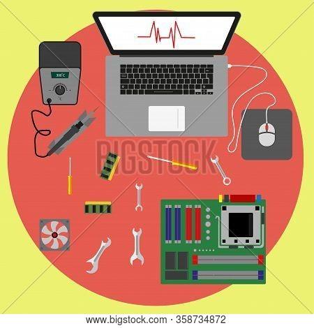 Computer Repair. Computer Workshop. Computer Maintenance, Maintenance And Diagnostics Settings. Flat