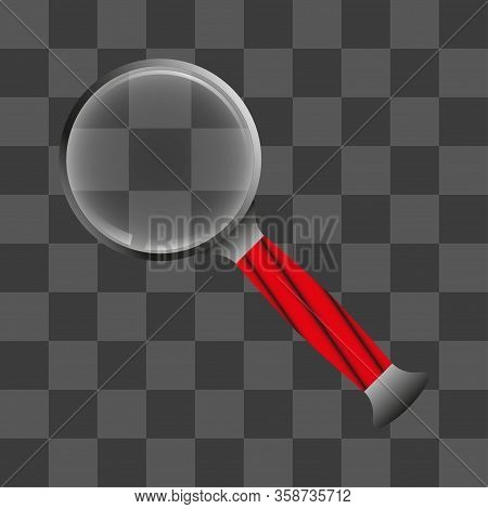 Realistic Magnifying Glass With Transparent Background. Magnifier Or Magnifier Sign, Search And Rese