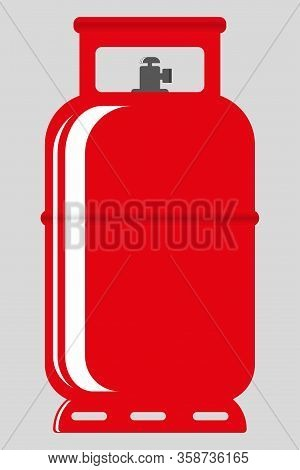Propane Gas Cylinder. Red Gas Tank, Gas Container. The Design Of The Propane Gas Tank. Vector Illust