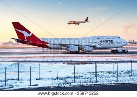 Frankfurt / Germany - December 8, 2012: Qantas Airways Boeing 747-400 Vh-ojj Passenger Plane Taxiing