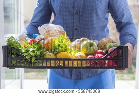 Food Delivery Service For Order Online Grocery Shopping Concept.  Express  Service Fast Food For Lif
