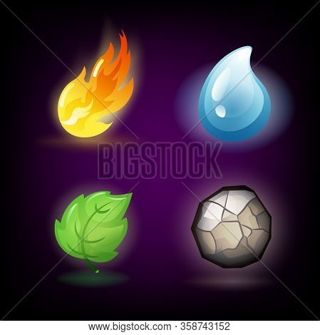 Four Forces Or Nature Elements - Water, Fire, Earth, Air. Design Elements On Dark Background. Templa