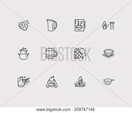 Kitchenware Icons Set. Mug And Kitchenware Icons With Bowl, Kitchen Mitts And Gas Burner. Set Of Fre
