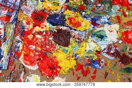 Colorful Palette Of A Painter With Many Colors To Try The Various Shades