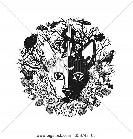 Two Faced Cat With Moon On Forehead Occult Composition. Mysterious Symbols Hand Drawn Vector Illustr