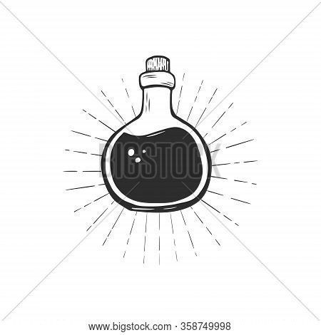 Magic Potion In Bottle Hand Drawn Vector Sketch. Glass Bottle With Black Fluid On White Background.
