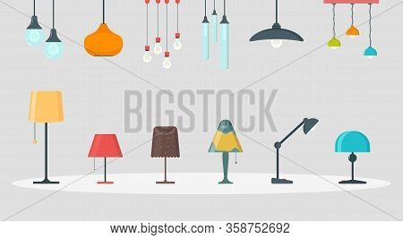 A Set Of Lamps On A White Background. Furniture Chandelier, Floor And Table Lamp In Flat Cartoon Sty