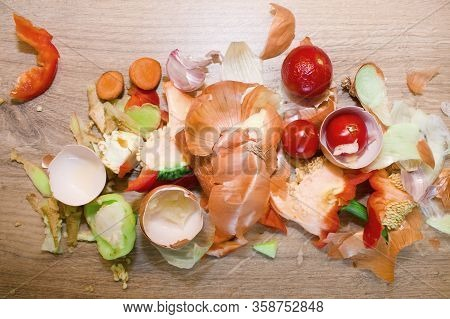 Biological Kitchen Waste. Onion Peels, Egg Shells, Peppers Inside, Rotten Cherry Tomatoes, Ginger Pe