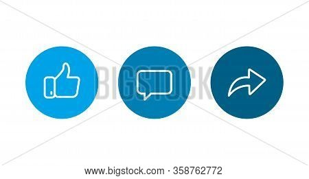 Like, Coment, Repost Line Icons Vector Illustration