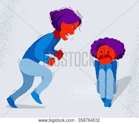 Abusive Mother Vector Illustration, Bad Mother Scream And Shout On Little Frightened Kid Boy Her Son