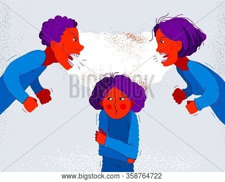 Quarrel Between Parents Make Child Suffer, Little Scared Girl Daughter Is A Victim Because Of Her Fa