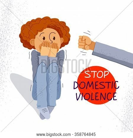Domestic Violence Concept Vector, Clenched Fist Threats Little Kid Scared Boy, Psychological Abuse,