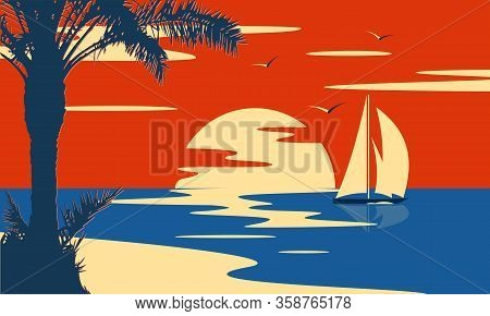 Tropical Sea Sunset Or Sunrise With Palm Tree And Yacht. Nature Landscape And Seascape.