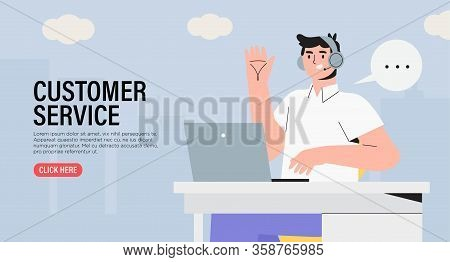 Male Character Specialist From Customer Service Or Technical Support Working On Laptop In Office. Co